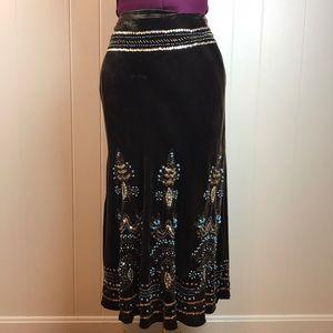 3/$27 Carole Little Velour Skirt w/ Beaded Accent